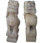 Pair of Chinese Shanxi Province Stone Foo Dogs