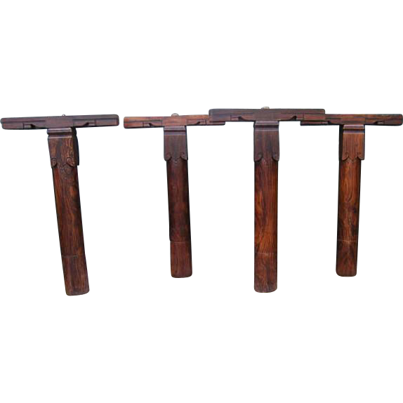 Set of Four Indian Kerala Solid Rosewood Pillars and Brackets