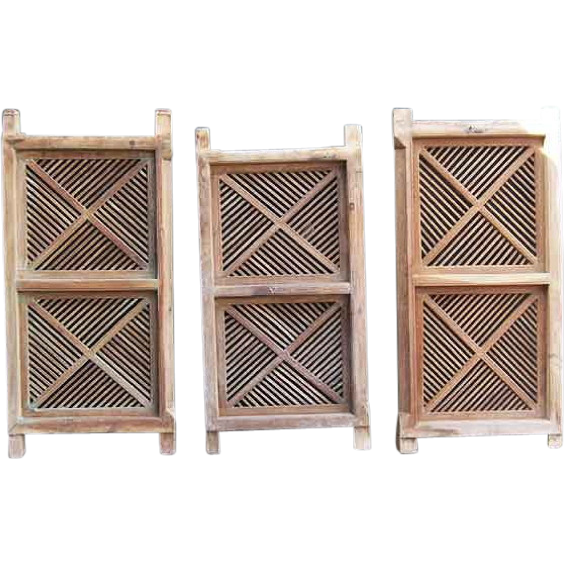 Set of Three Anglo Indian Fretwork Teak Porch Railings c. 1880