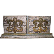 French Colonial Kerala Painted Teak Altar Architectural Panel