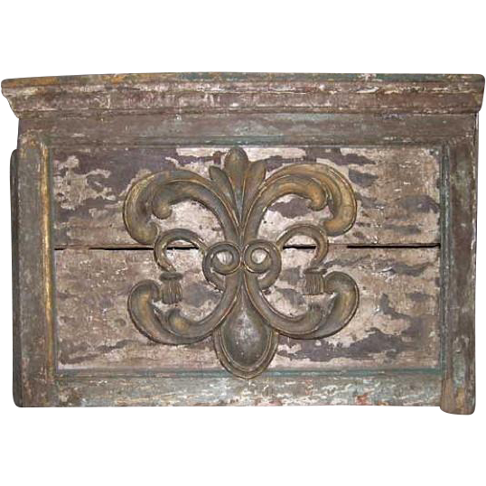 French Colonial Kerala Painted Altar Architectural Panel