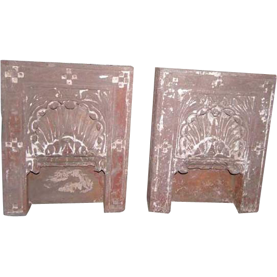 Pair of Indian Sandstone Architectural Shrine Niches