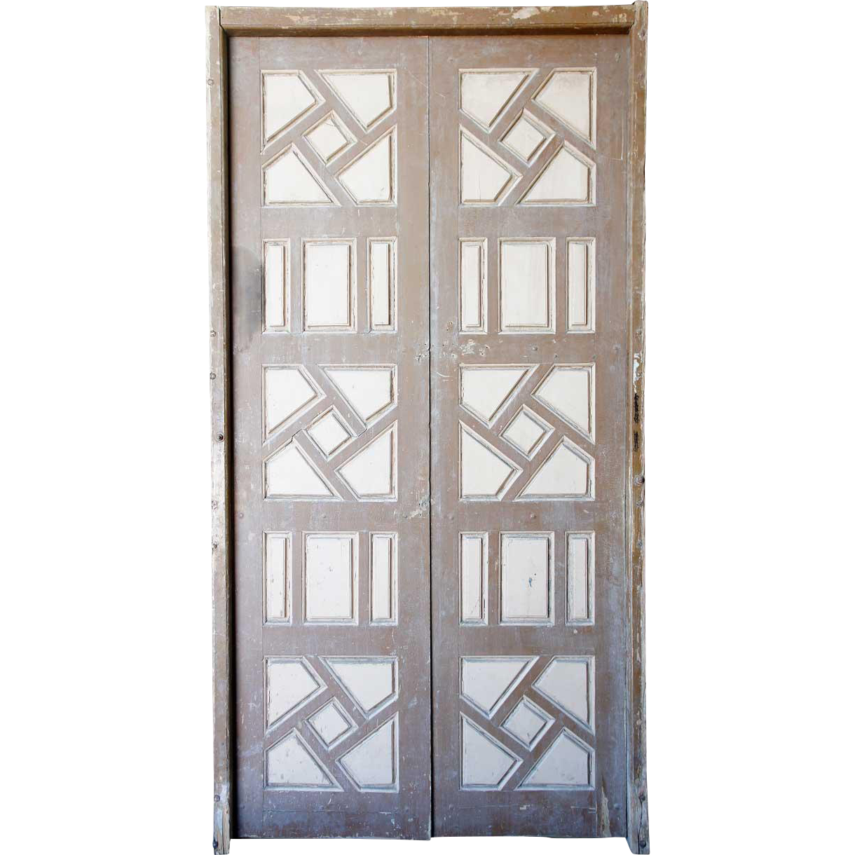 Large Moorish Painted Pine Paneled Double Door