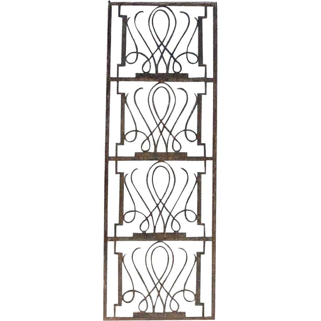 French Art Deco Edgar Brandt Style Fer Forge Panel