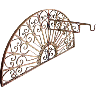 French Colonial Wrought Iron Arched Transom Grille with Lantern Bracket