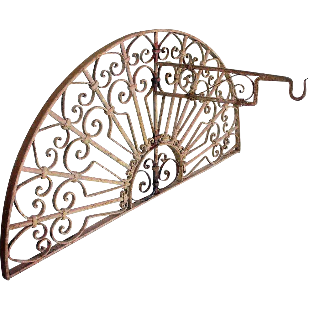 French Colonial Painted Wrought Iron Arched Transom Grille with Lantern Bracket