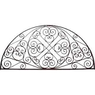 French Colonial Wrought Iron and Zinc Arched Transom Grille