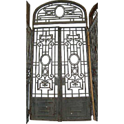 Grand Antique French Wrought Iron Double Door Gate