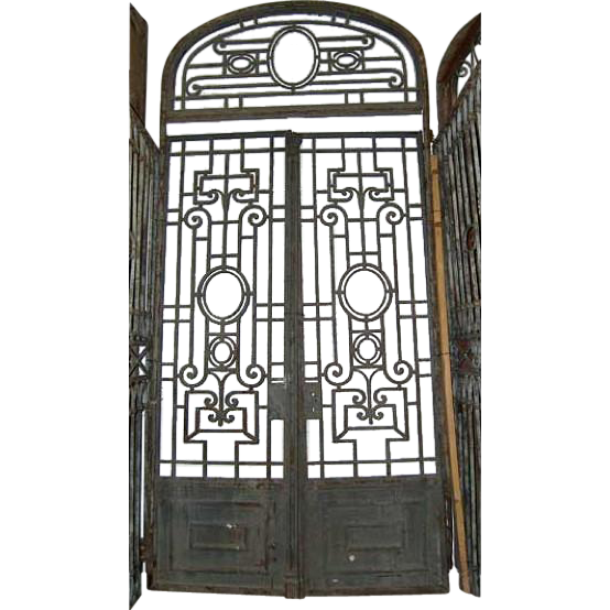 Grand Antique French Wrought Iron Double Door Gate - Grand Antique French Wrought Iron Double Door Gate From