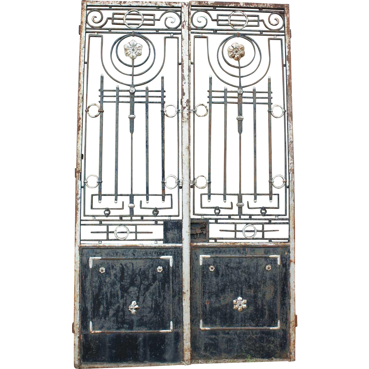 Grand French Colonial Painted Wrought Iron Double Door Gate