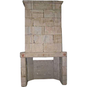 French 1770 era Louis XVI Limestone Trumeau Fireplace Surround