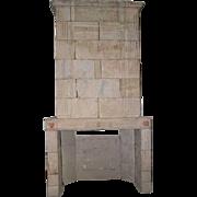 French 1770 era Louis XVI Limestone Trumeau Fireplace Surround