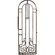 French Colonial Art Nouveau Wrought Iron Arched Gate