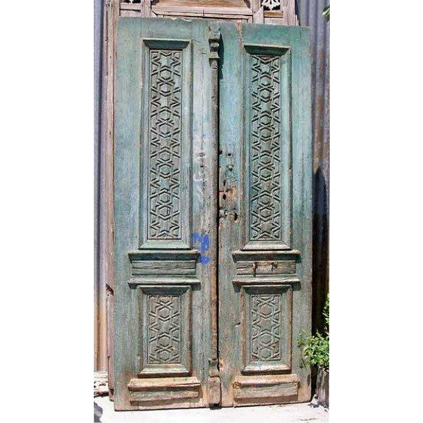 French Colonial Painted Pine Double Door