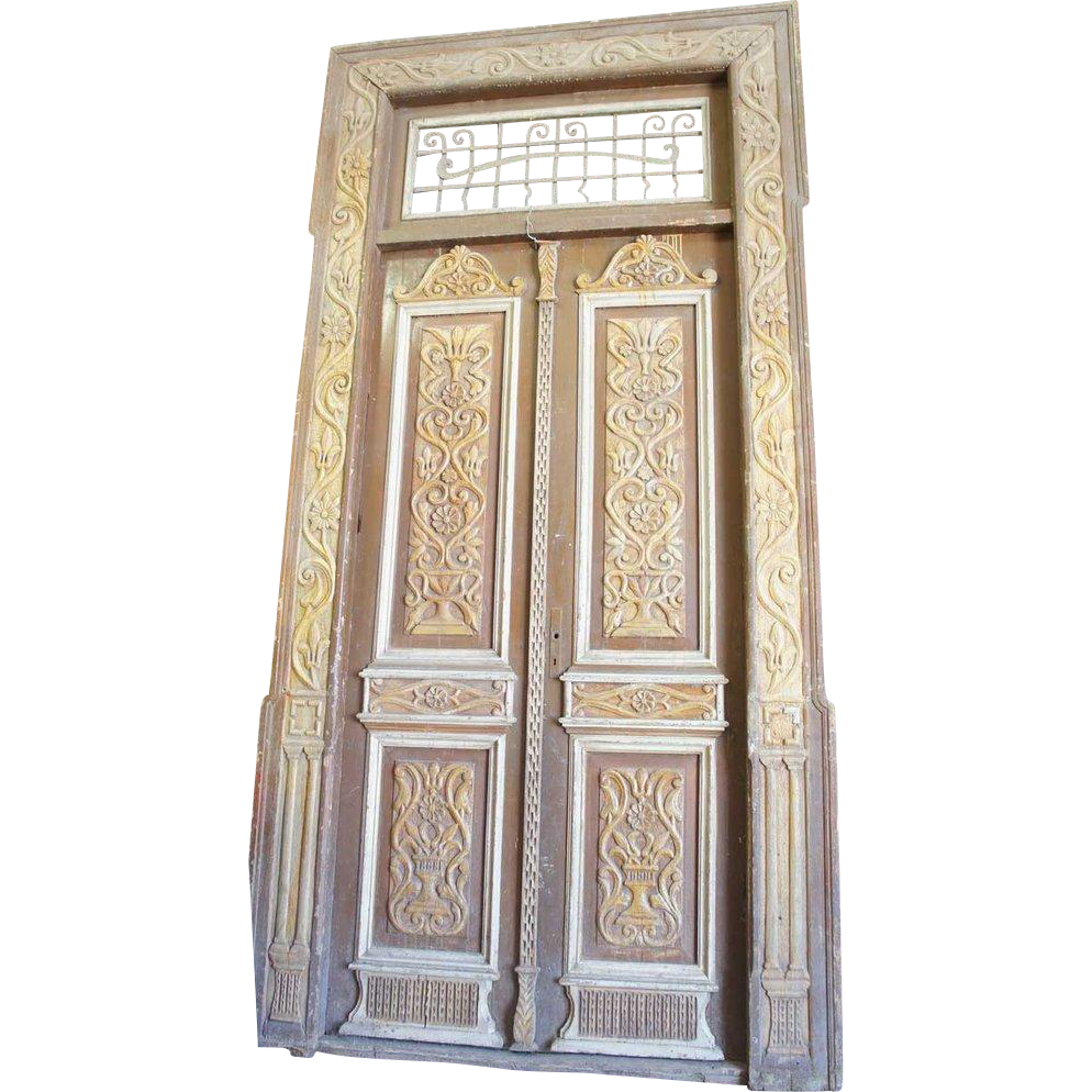 French Colonial Painted Pine Double Door with Frame