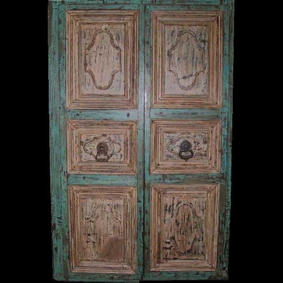 Indo-Portuguese Painted Teak Double Door