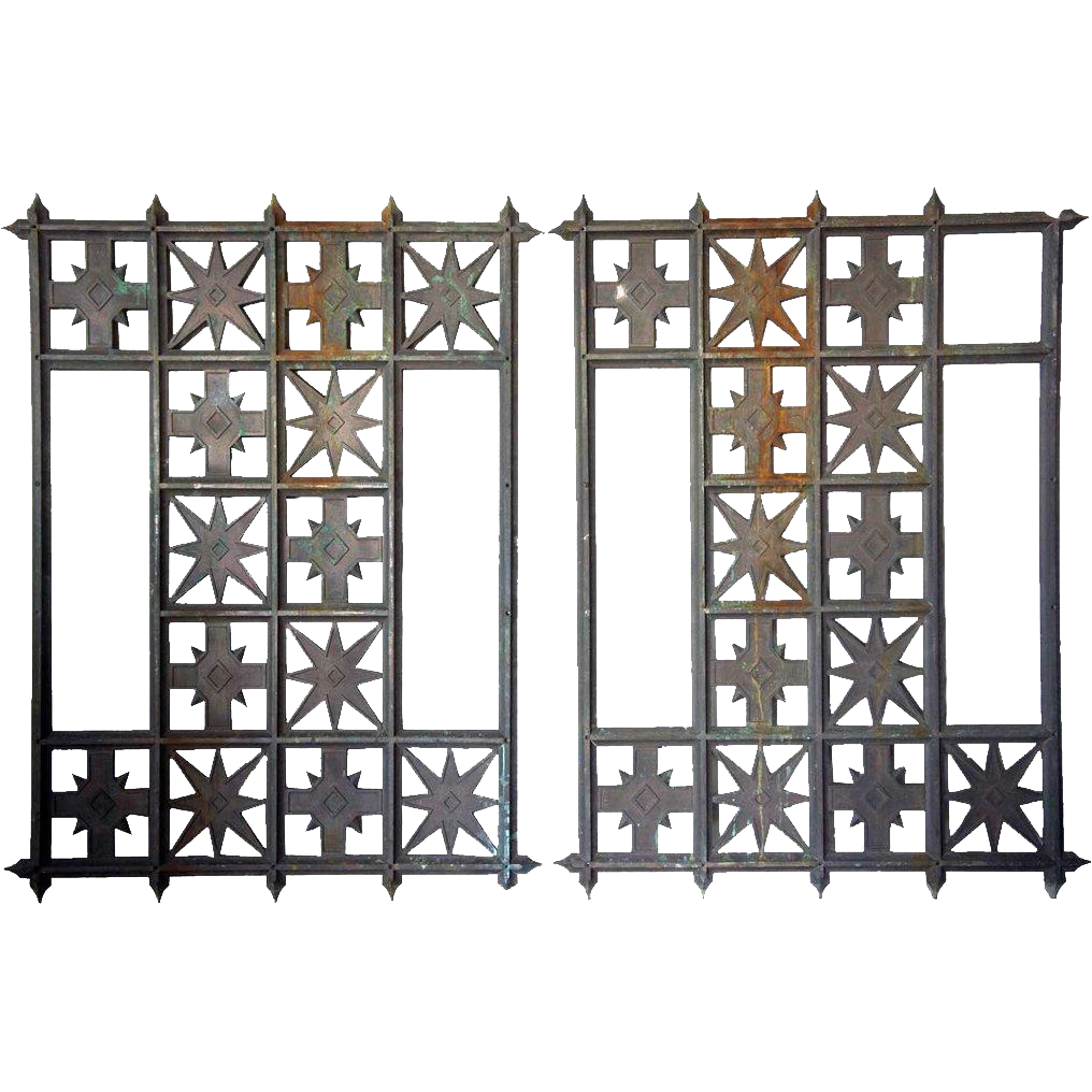 Pair of American Arts and Crafts Solid Bronze Grille Panels