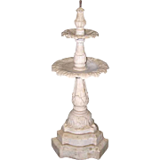 Small Victorian White Marble Two-Tier Garden Fountain