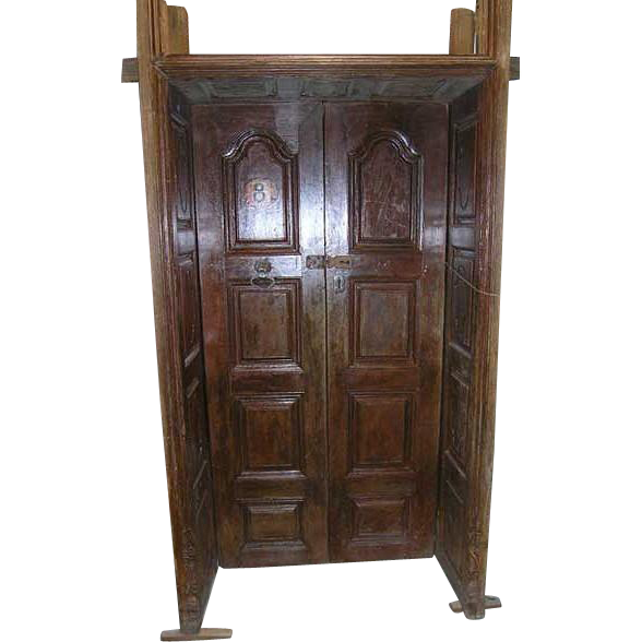 Indo-Portuguese Paneled and Carved Teak Double Door with Deep Surround