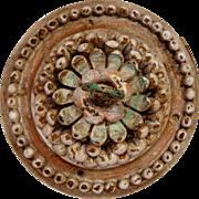 Indo-Portuguese Painted Teak Ceiling Medallion Hook