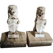 Pair of American Midland Terra Cotta Company Heraldic Lion Roof Ornaments
