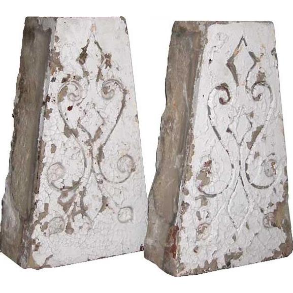 Pair of American Eastlake Painted Building Keystones