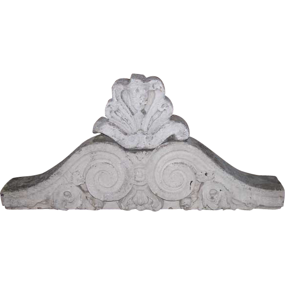 Two-Piece American Victorian Hand Carved Limestone Architectural Pediment