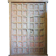 Indo-Portuguese Iron Mounted Teak Double Door with Frame