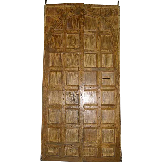 Large Indo-Portuguese Teak and Iron Nailhead (Clavos) Double Door with Frame