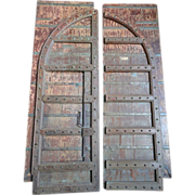 Indo-Portuguese Painted Iron Mounted (Clavos) Teak Double Door