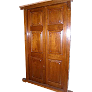 Large 19th Century Anglo Indian Raised Panel Teak Double Door with Frame