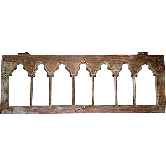 Anglo Indian Gothic Revival Teak Arcade Window Frame