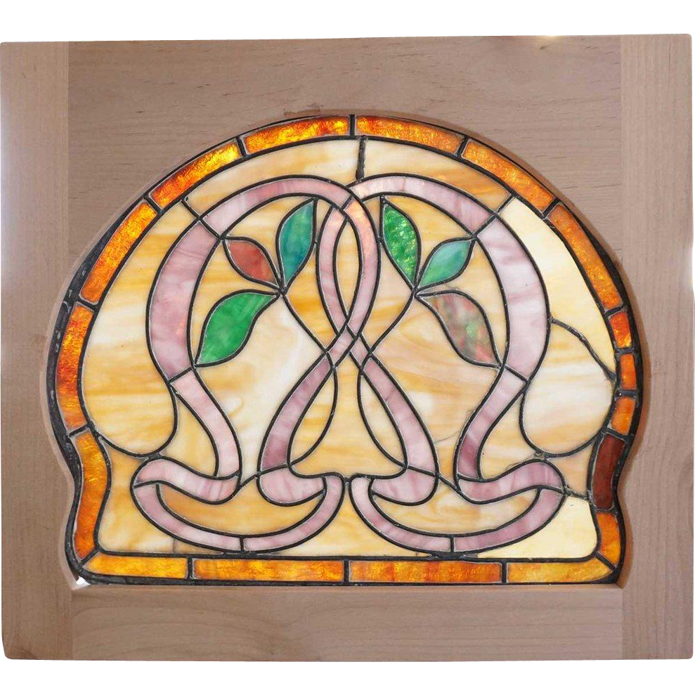 Small American Art Nouveau Stained Glass Window