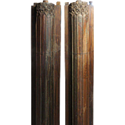 Pair of Indian Teak and Limestone Base Pilasters