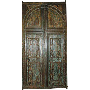 Large Anglo Indian Painted Teak Arched Panel Double Doors