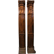 Pair of Monumental Anglo Indian Teak Pilasters