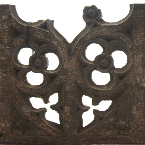 English 1500s Gothic Oak Architectural Tracery Panel From