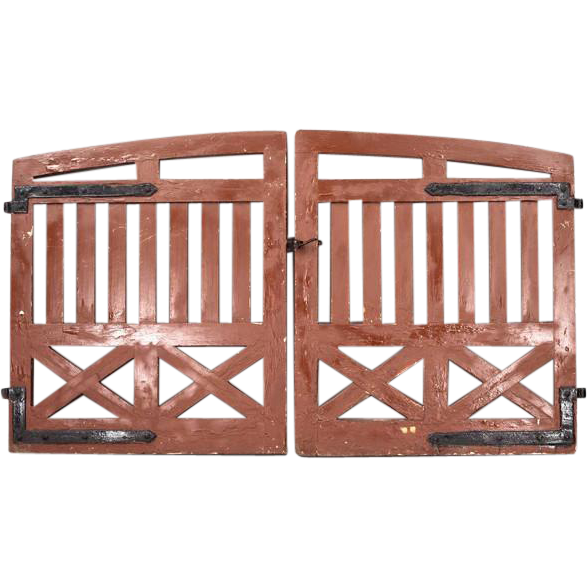 Antique Pair of Danish Heavy Pine Garden Gates