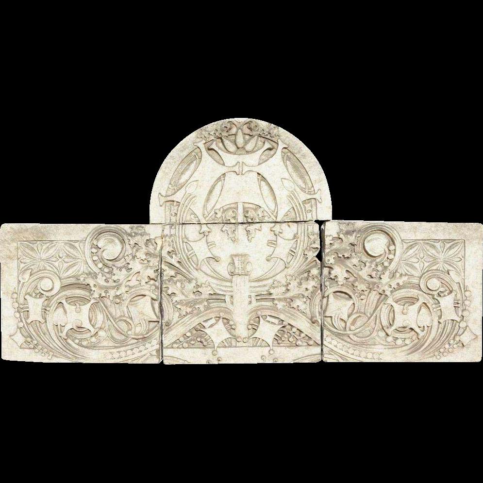 American GEORGE ELMSLIE 4-Part Terra Cotta Architectural Cartouche