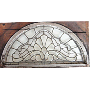 American Victorian Beveled and Textured Arched Glass Pine Frame Window