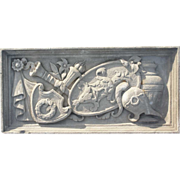 American Hand Carved  Limestone Theater Masks Architectural Lintel Panel