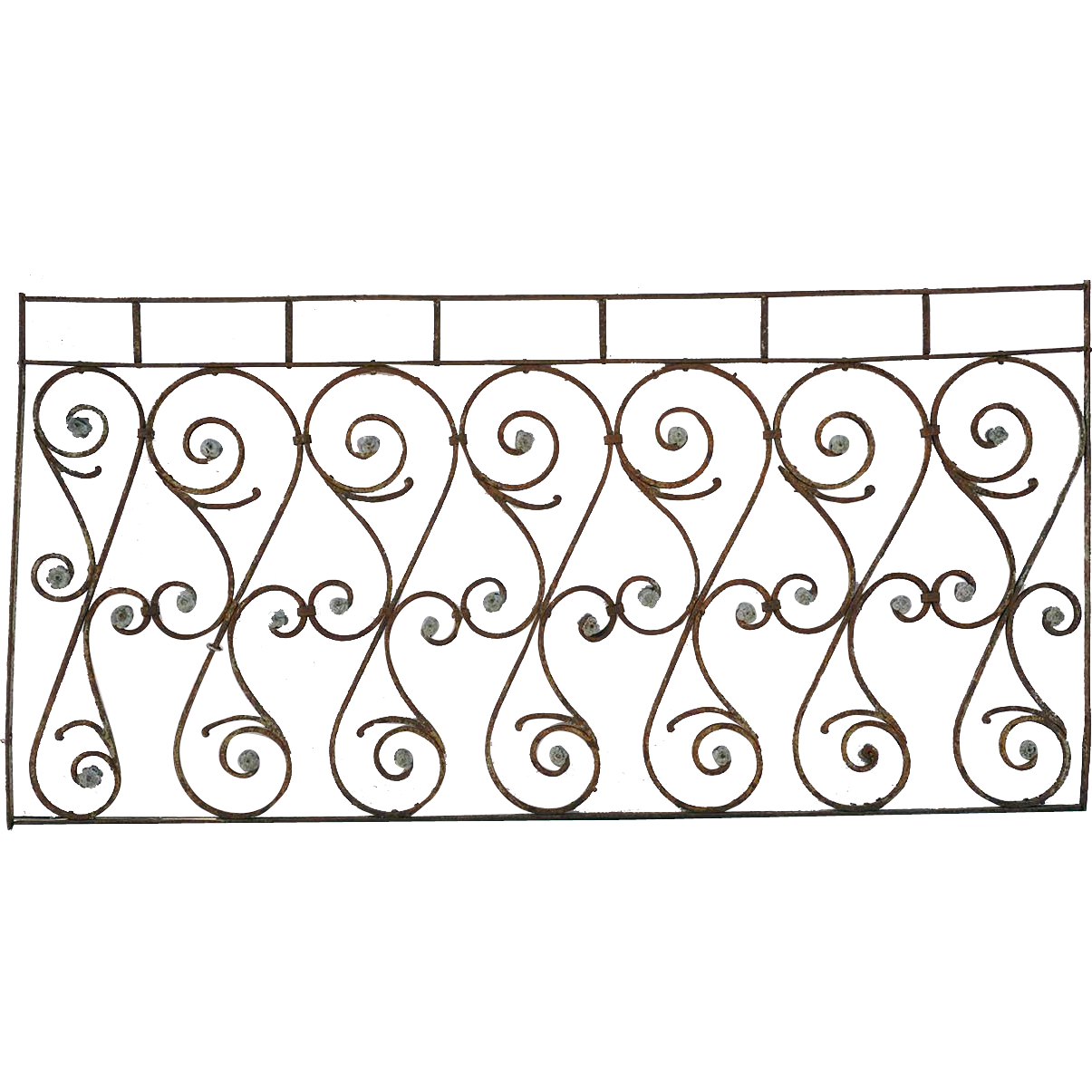 French 19th Century Wrought Iron Balcony Railing from