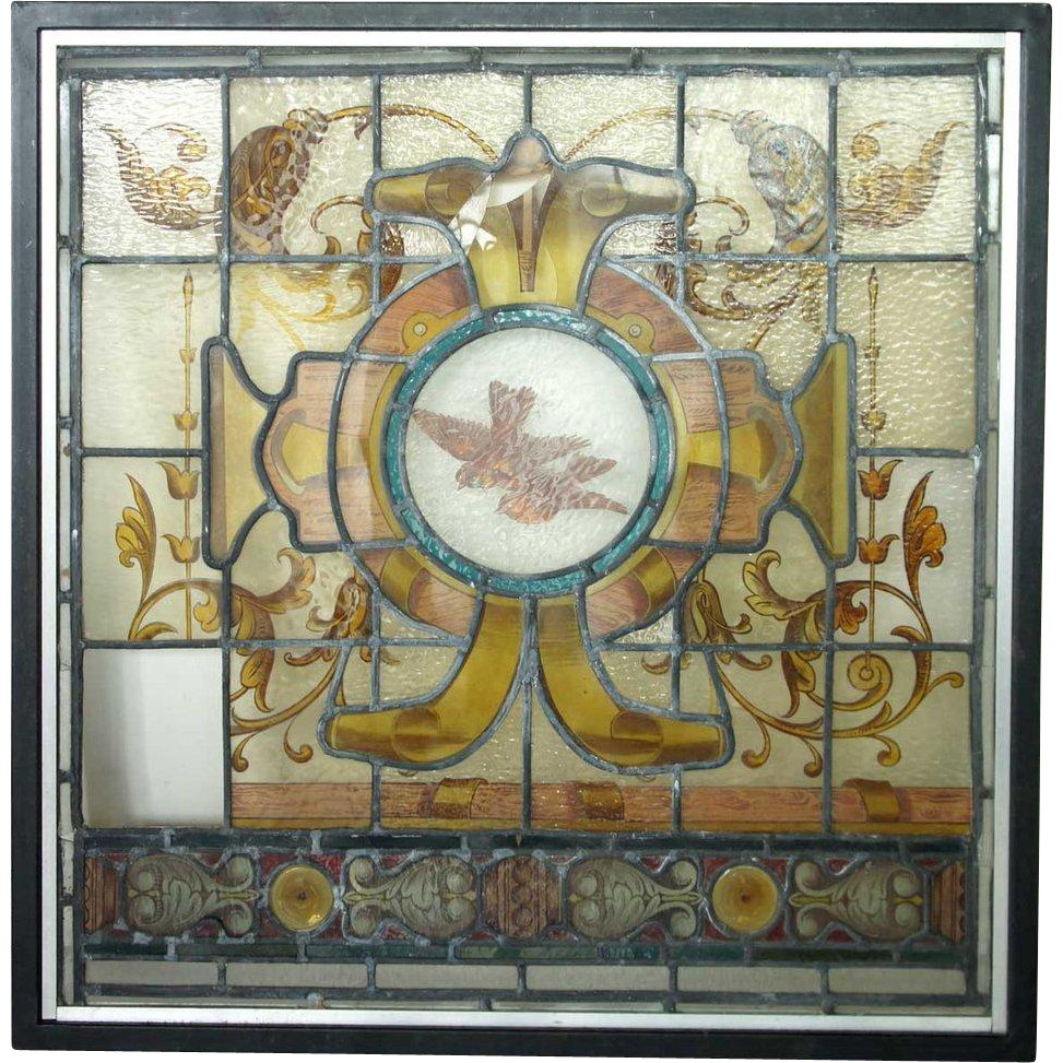 English Painted Stained Glass Window