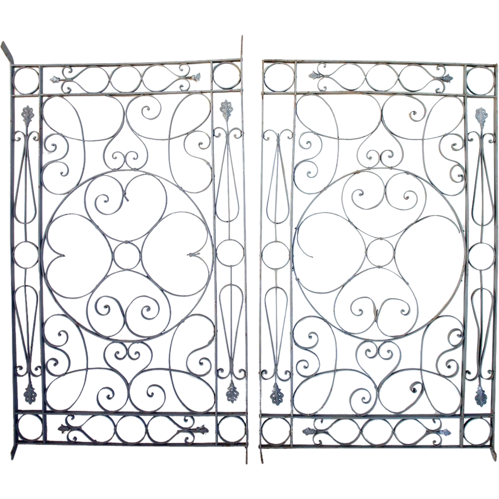 Pair of Argentinian French Style Grey Painted Wrought Iron Grilles