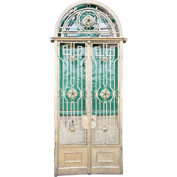 French Beaux Arts Wrought Iron Double Door Entrance with Arched Transom