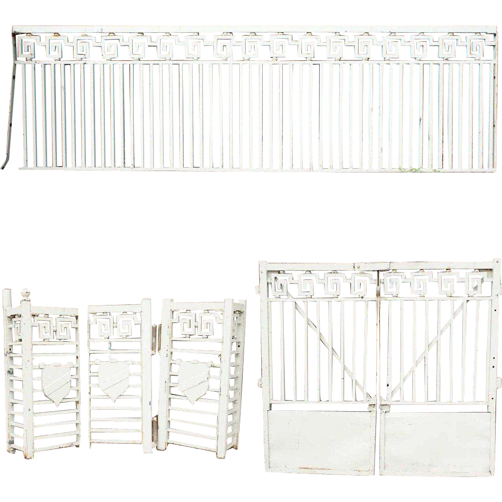 Six-Piece American Neoclassical Painted Iron Fence and Gate Panels
