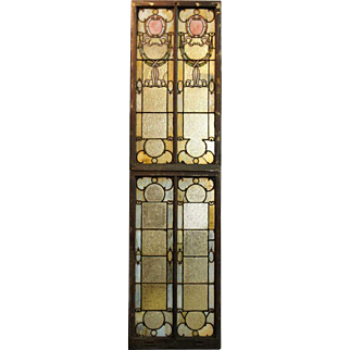 Two-Part American Brooklyn Hall of Records Leaded and Stained Glass Window