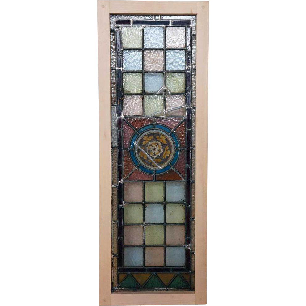 English Victorian Stained and Handpainted Glass Window
