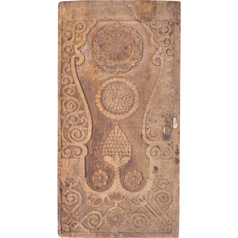 Danish Baroque Carved Oak Door Panel