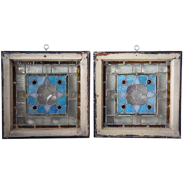 Pair of American Opalescent ,Beveled Glass and Jeweled Leaded Glass Windows